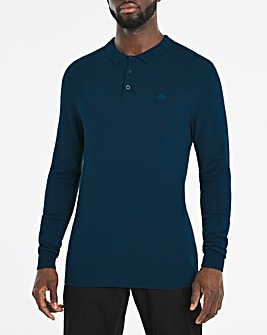 Blue Long Sleeve Knitted Polo Jumper
