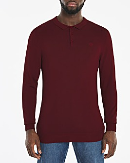 Wine Long Sleeve Knitted Polo Jumper