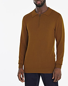 Brown Long Sleeve Knitted Polo Jumper
