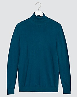 Blue Long Sleeve Roll Neck Jumper