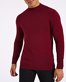 Wine Long Sleeve High Neck Jumper
