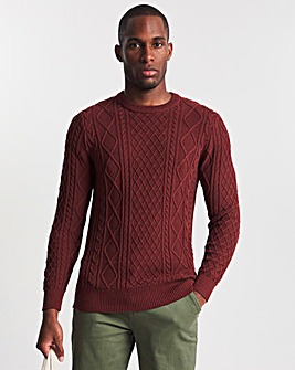 Rust Cable Knit Crew Neck Jumper