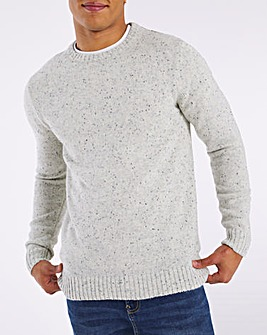 Ecru Neppy Long Sleeve Crew Neck Jumper