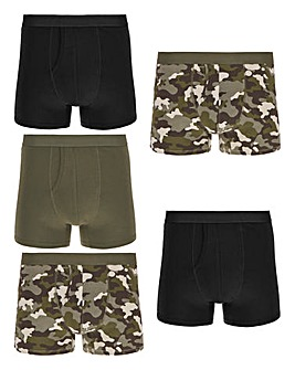 Pack of 5 Camo Print A-Fronts