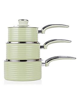 Swan Retro Ceramic Saucepan Set Green