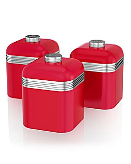 Swan Retro Set of 3 Canisters Red