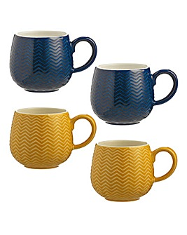 Embossed Chevron Mugs Set of 4