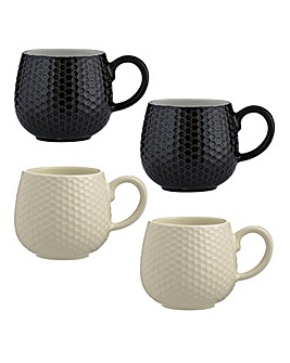 Embossed Honeycomb Mugs Set of 4