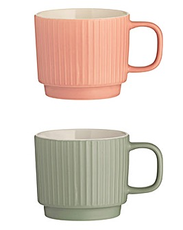 Embossed Line Mugs Set of 2