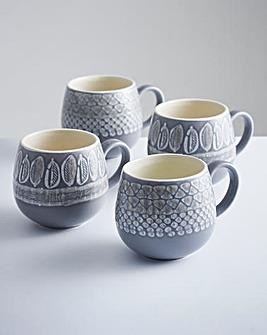Impressions Grey Mugs Set of 4