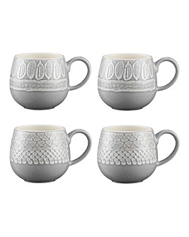 Impressions Grey Mugs Set of 4