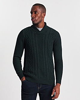 Forest Green Cable Shawl Neck Jumper