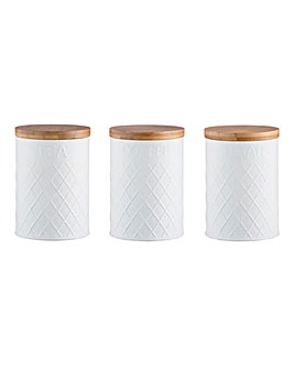 Typhoon White Embossed Canisters Set