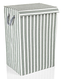 Minky Grey Stripe Laundry Hamper