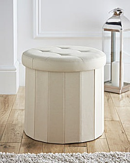 Round Foldable Storage Ottoman Cream