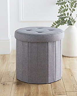 Round Foldable Storage Ottoman Grey