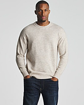 Oatmeal Fluffy Knit Recycled Crew Neck Jumper