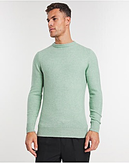 Mint Fluffy Knit Recycled Crew Neck Jumper