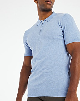Blue S/S Zip Neck Polo Shirt