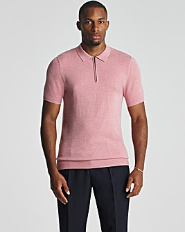 Raspberry Short Sleeve Zip Neck Knitted Polo Shirt