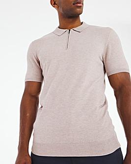Oatmeal Short Sleeve Zip Neck Knitted Polo Shirt
