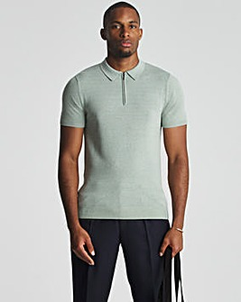 Sage Short Sleeve Zip Neck Knitted Polo Shirt