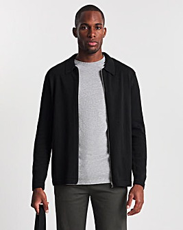 Black Zip Through Knitted Shirt
