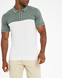 Green Tipped Colour Block Knitted Polo