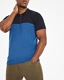 Blue Tipped Colour Block Knitted Polo