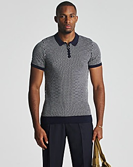 Blue Jaquard Zip Neck Knitted Polo