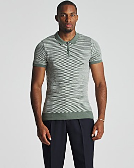 Green Jaquard Zip Neck Knitted Polo