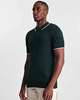 Green Tipped Cable Knit Polo