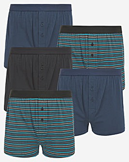 5 Pack Loose Boxer Blue Stripe With Solids