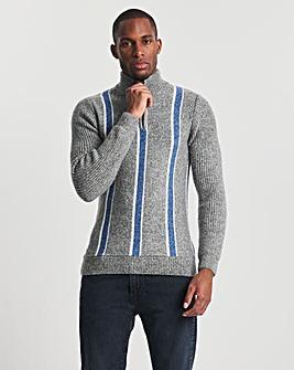 Blue Vertical Stripe 1/2 Zip Jumper