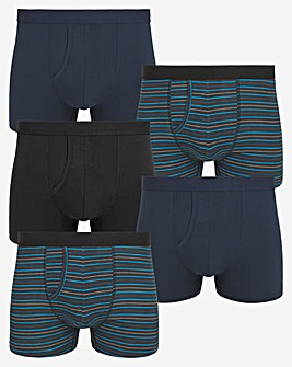 5 Pack A Front Boxers Blue Stripe