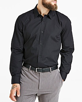 Black Long Sleeve Forward Point Collar Shirt Long