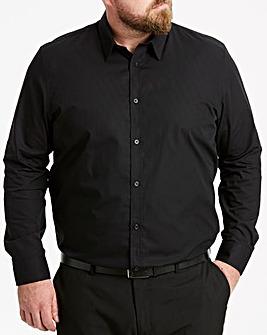 Black Long Sleeve Forward Collar Shirt
