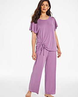 Pretty Secrets Luxury Tie Front top and Wide Leg Trouser Set