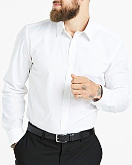 White Long Sleeve Forward Point Collar Shirt Regular