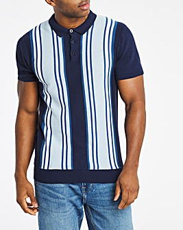 Navy Colour Block Knitted Polo