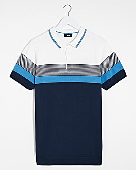 Blue Colour Block Knitted Polo
