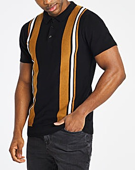 Tan Colour Block Knitted Polo