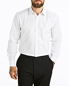 White Long Sleeve Stretch Forward Collar Shirt Long