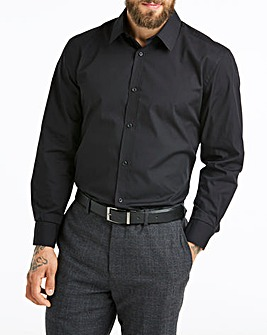 Black Long Sleeve Stretch Forward Collar Shirt Long