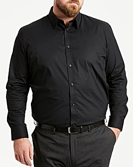 Black Long Sleeve Forward Collar Shirt