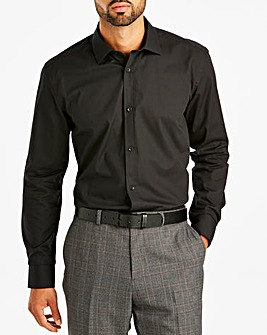 Black Long Sleeve Cutaway Collar Shirt Long