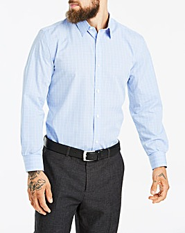W&B London Blue Check Long Sleeve Forward Point Collar Shirt Regular