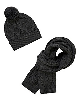 Charcoal Cable Hat & Scarf Set