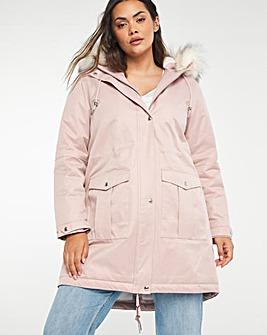 Soft Pink Faux Fur Lined Parka