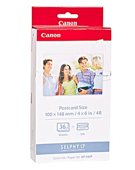 Canon KP-36IP Ink/Paper for Selphy CP Printers - x36 (4x6 Postcard Size)